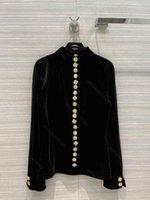 Moda CC Designer Velvet Shirt Women Brand CCH Sudadera con capucha negra Cuello alto Top con botones de metal Retro Star Street Tamaño SML