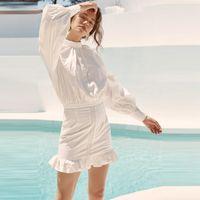 Casual Dresses 2021 Women Summer Dress WHite Sexy Mini Clubwear Long Sleeve Chiffon Party Solid Vestidos Elegant Backless Wholesale