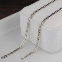 Real Solid S925 Silver Jewelry Vintage 3MM Thai Necklace For Men And Women Tank Chain Flat Ring Chains