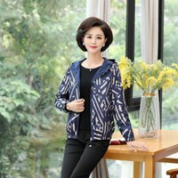 Women's Jackets Ladies Thin Spring Autumn Fall Middle Age Elegant Mother Tops Casual Women Printed Flower Fashion Loose Coats W63