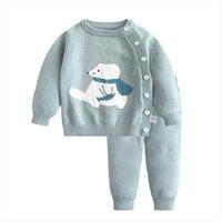 Moda bebek kazak takım elbise kış bebek erkek giysileri sıcak çocuklar örgü pamuk 2 adet set kız giyim