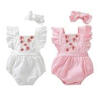 0-24 M Yaz Güzel Bebek Kız Tulum Çiçekler Nakış Ruffles Kısa Kollu Tulumlar 2 Renkler Giyim Setleri
