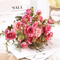 Daisies Dahlia Artificial Silk Sun Flowers Bouquet For Wedding Home Decoration DIY Wreath Gift Box Scrapbooking Craft Fake Rose Decorative &