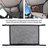 Car Organizer Ceiling Storage Bag Mesh Net Styling Luggage Holder Adjustable Sundries Auto Stowing Tidying