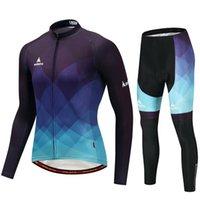 Miloto 남자 긴 소매 사이클링 저지 블루 / 블랙 그라데이션 자전거 탑 스포츠 겨울 polyster 산 MTB 도로 경주 세트