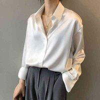 2020 Fashion Button Up Satin Silk Blouse Shirt Women Vintage White Long Sleeve Shirts Tops Ladies Elegant Korean Office Shirt