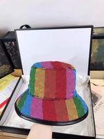 클래식 남성 야구 모자 상위 품질의 컬러 박스 먼지 가방 패션 여성 어부 양동이 모자 음영