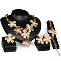 Exaggerating Pearl Golden Jewelry Set Hollow Rhinestone Flower Necklace Earrings Bracelet Ring for Women Wedding Accessories