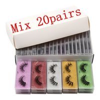 3D Mink Lashes Colorful False Eyelash Packaging Box In Bulk 10 Style with Multicolor Base Card Handmade Wholesale Makeup Eye Lash
