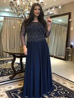 Navy Crystal Top Mother of the Bride Groom Dresses Jewel Neck Chiffon Long Illusion Sleeves Sequins Ruched Prom Evening Formal Plus size