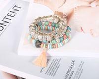 Bohemian Mal Eye Charme Bracelts Mulheres Pedra Natural Vento Bodhi Bodhi Tassel Mão Pulseira Bangles Fashion Jewelry 4 Pcs / Lot