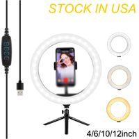 """6 """"Ring Light LED Desktop Selfie LED USB Scrivania Telecamera Superficie 3 colori Illuminazione con Treppiede Supporto per telefono cellulare e per trucco fotografico in diretta streaming"""