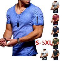 9 Cores Mens Camiseta V-Neck Stretch T-shirt Cor sólida Zipper Design de manga curta camisa de fundo casual S-5XL