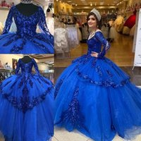 Modern vestidos de xv años Royal Blue Sequins Quinceanera Dresses Long Sleeves Corset Sequined Ball Gown Sweet 16 prom Dress