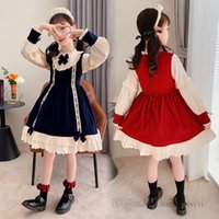 Christmas children party dresses girls Bows tie puff sleeve princess dress lolita kids lace hollow embroidery falbala clothing Q2364