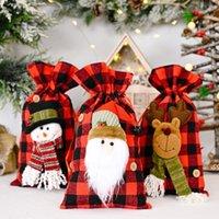 Christmas Santa Sacks Buffalo Plaid Snowman Reindeer Candy Gift Xmas Treats Drawstring Bags Party Supplies DHA8709