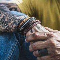 DVACaman 6 дизайн старинные деревянные бусины кожаные браслеты набор мужчин мода многослойные веревочки браслет браслет ручная ювелирная ссылка, цепь