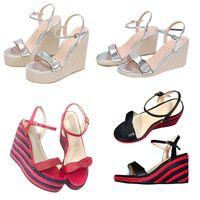 Femmes sexy talons hauts sandales de designer sandales de la cheville cordon d'espadrille en forme de talon en forme de coin, mode véritable robe de mariage en cuir véritable chaussures avec boîte 291