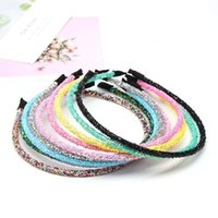 10Pcs lot Glitter Headband for Girls Handmade Shiny band Candy Color Hoop Children Party Whole Hair Accessories
