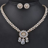 Earrings & Necklace Luxury Gold Color Elegant Shape Bridal CZ Flower Pendant And Big Wedding Jewelry Sets For Brides GLN0133