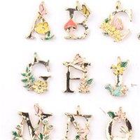 26 inglés letras encantos colgantes joyería bricolaje gota aleación de aceite flores arte pulseras componentes mujeres hombres encanto moda 0 48cw m2