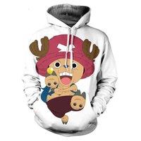 Trendy Fall / Winter New Hombres y mujeres con capucha para mujer Niños Impresión 3D Dibujos animados lindo Anime One Piece wweatshirt Casual Coat