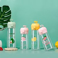 Cute light water bottle fruit pattern bullet cover plastic cup simple and fresh student couple outdoor portable cup