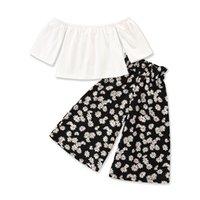 Floral Small Girl Sets Tops+wide Leg Pants Summer Children Clothes Fashion Casual Cute Kids 2pcs Set