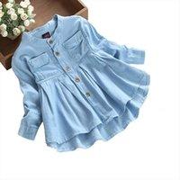 Yaz Toddler Çocuk Bebek Kız Kız Elbise Denim Dantelli Uzun Kollu T Gömlek Tops Bluz Giyim Vestidos de Verano
