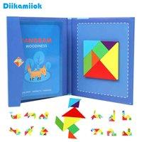 Hot Kids Magnéticos Magnéticos Tangram Tangram Boy 3D Quebra-cabeça Jigsaw Pensando Treinamento Jogo Bebê Montessori Brinquedos Educativos para Crianças A0511
