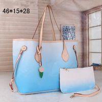 2-х частей цветной дизайнер градиентная сумка на плечо Сумка классический граффитический дизайн высокого качества женщин большая емкость