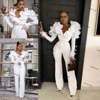 PLUS Taille Robes de Jumpsuit de mariage avec courroie perlée Voudles Col à manches longues Robes de mariée nigériane africaine avec robe de combinaison de pantalon
