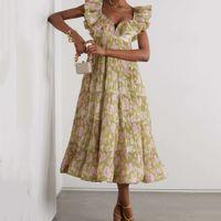 Floral high waist 2021 summer Sexy French style print V-neck temperament commuter A-line medium length dress