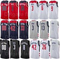 Ekran Baskı Basketbol Bradley Beal Jersey 3 Thomas 13 Raul Neto 19 Davis Bertans 42 Spencer Dinwiddie 26 Deni Avdija 9 Donanma Mavi Kırmızı Beyaz Siyah Gri Adam Kadın Gençlik
