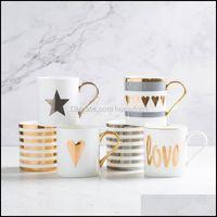 Drinkware Kitchen, Dining Bar & Gardencreative Ceramic Mug Love Star Stripe Pattern Gold Plating Handle Cup Office Household Coffee Milk Mug