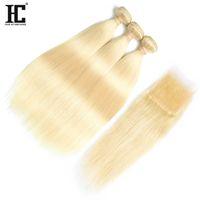 Top vendendo # 613 Loiro cabelo humano 3 pacotes com fecho de renda 8a mink cabelo brasileiro onda de corpo em linha reta com moeda frontal do laço