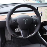 new pattern 5D Black Carbon Fiber&Black Hole Leather Steering Wheel Hand Sewing Wrap Cover Fit For Tesla model 3 2017-2020