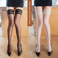 Socks & Hosiery Non Slip Silicone Women Sexy Stocking Peacock Lace Top Shiny Stockings Tiptoe Transparent Breathable And Nightclubs