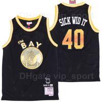 Erkekler BR Remix E-40 X # 40 Hasta Wid It Basketbol Jersey Bleaacher Raporu Sınırlı Baskı Siyah Takım Rengi Satışta En Kaliteli