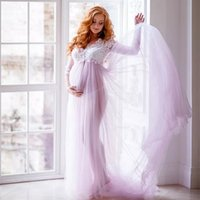 3 4 Sleeve Maternity Evening Dresses 2021 Empire Waist Party Prom Gown For Pregnant Tulle Sexy Front Split Button Sweep Train