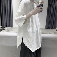 Camiseta de manga corta de color sólido Ropa suelta de los hombres Marca de moda Coreano Suzuki Hara estilo versátil 5-manga