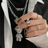 Woman luxury designer diamond bear necklace trendy hip-hop clavicle chain female ins cold wind long pendant sweater chain Jewelry