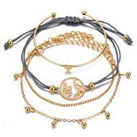 Punk Rhinestone Geometric Chain Bracelets Set for Women Bohemia Multilayer Beads Charm Bangles Fashion Party Jewelry Gift