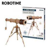 Robotime Rokr 1:1 DIY 314pcs Telescopic Monocular Telescope Wooden Model Building Kits Assembly Toy Gift for Children Adult 210909