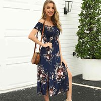 New Summer Slow Sleeve Slash Neck Assimétrica Impressão Curta Streetwear Natural Mid-bezerro Sashes Sundress Vestidos MSFilia