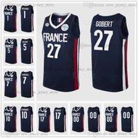 Schermo stampato su ordinazione Estate Tokyo Olimpiadi di Tokyo Francia Basket Basket Jersey 27 Gobert 10 Evan Fournier 5 Batum 7 Guerschon Yabusele 1 Ntilikina 17 Poirier Nando de Colo