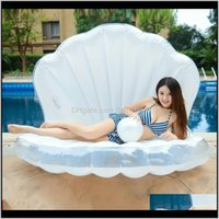 Tubes Big Size Inflatable Pearl Shell Floating Row Thickening Pvc Material Swim Ring Summer Waterproof Wear Resistant Pool Floats Mat J1Pte