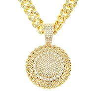 Mens Hip Hop Iced Out Sunflower Pendant Necklace Bling Diamond Rhinestone Cuban Chain Punk Necklaces for Women Men Statement Jewelry