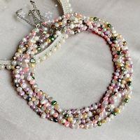 Collier naturel de perles d'eau douce naturelle pour femmes mariée fête bijoux mixte coloré Baroque Strand Colliers Collier