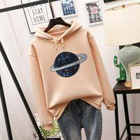 Loose Casual Women's Clothing Autumn And Winter Long Sleeve Printed Coat Hoodies & Sweatshirts